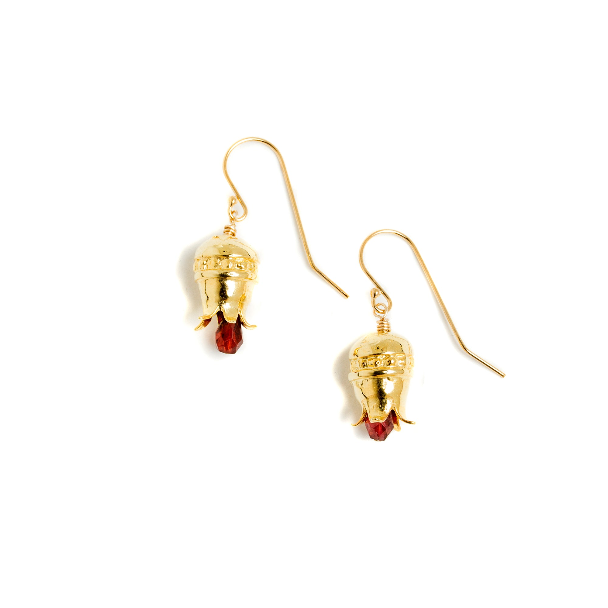 Pomegranate Earrings with Drop Garnets - Gold-Plated