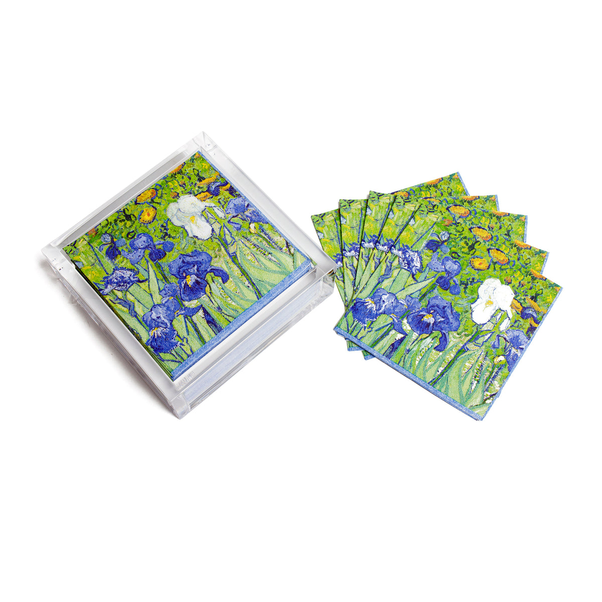 Van Gogh Irises Paper Cocktail Napkins in Acrylic Holder | Getty Store