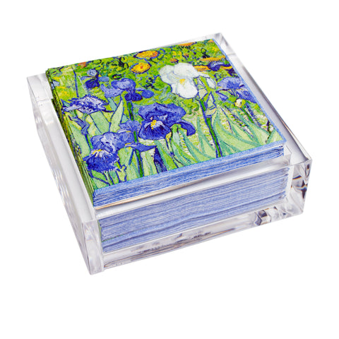 Van Gogh <i>Irises</i> Paper Cocktail Napkins in Acrylic Holder