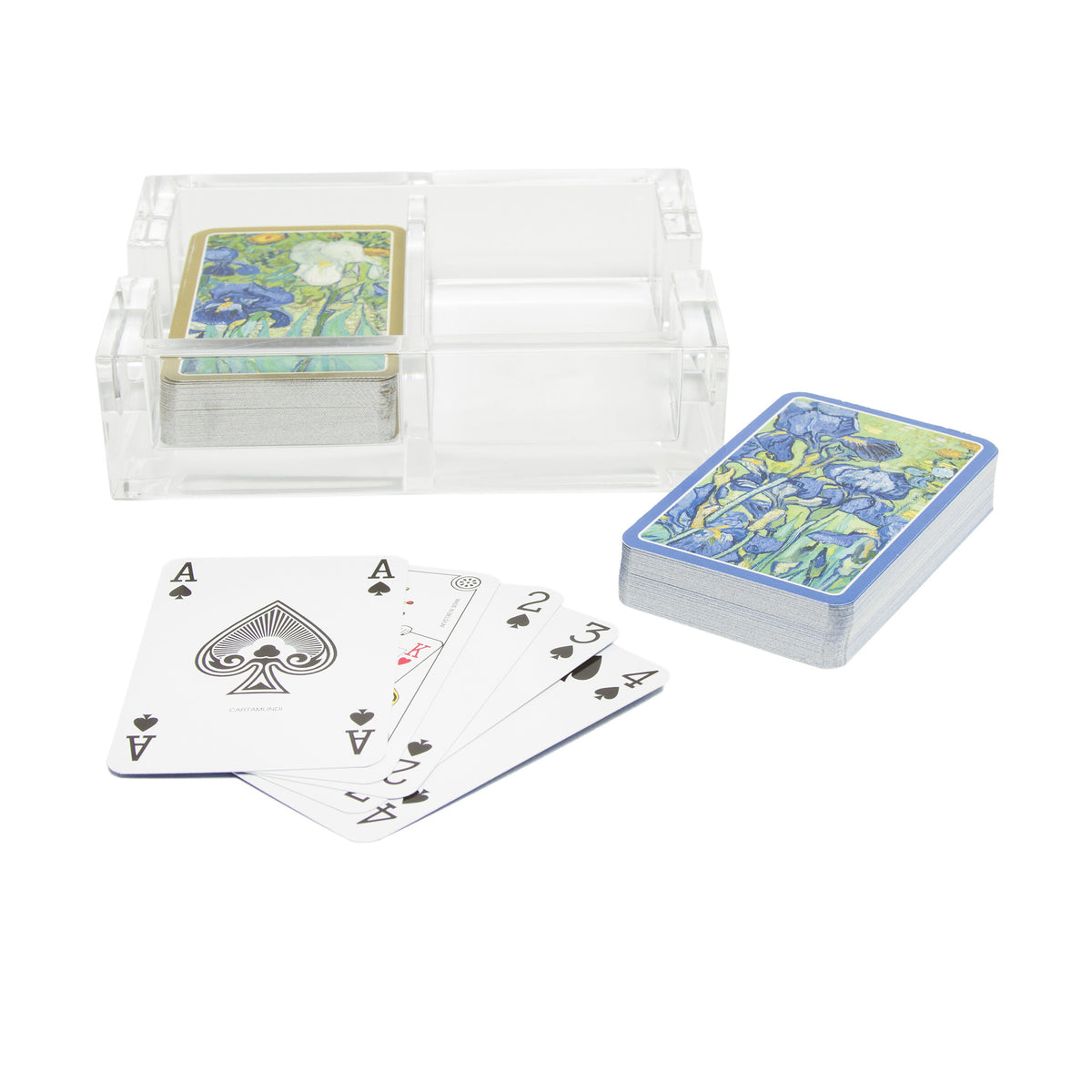 Van Gogh Irises Playing Cards in Acrylic Holder | Getty Store