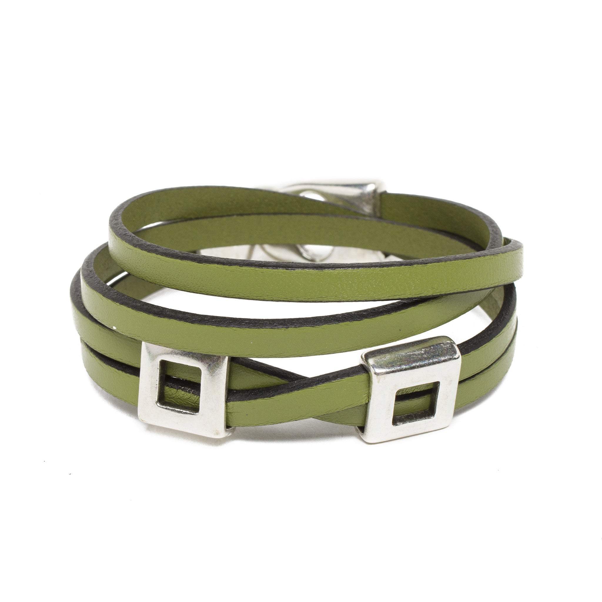 metallic loewe leather jewelry lyst bangles s bangle silver women in
