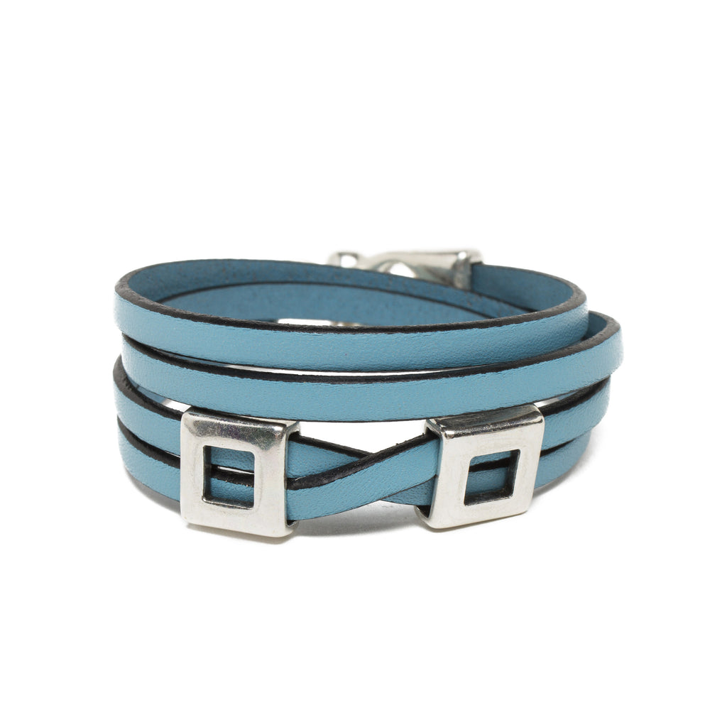 Leather Double Wrap Bracelet - Sky Blue
