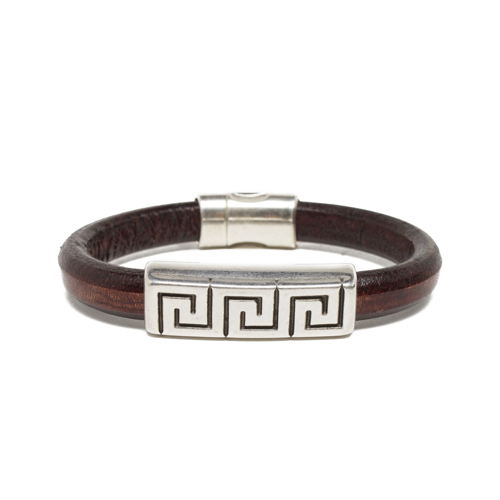 Silver Plated Greek Key Bracelet - Brown Leather