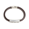 Silver Plated Wave Bracelet - Brown Leather