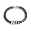 Silver Plated Spaced Bead Bracelet - Brown Leather