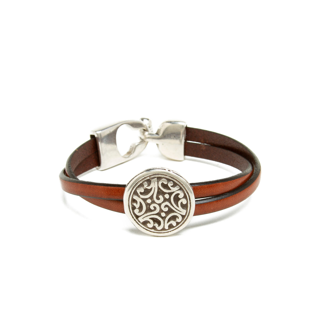 Leather Floral Bead Bracelet - Brown