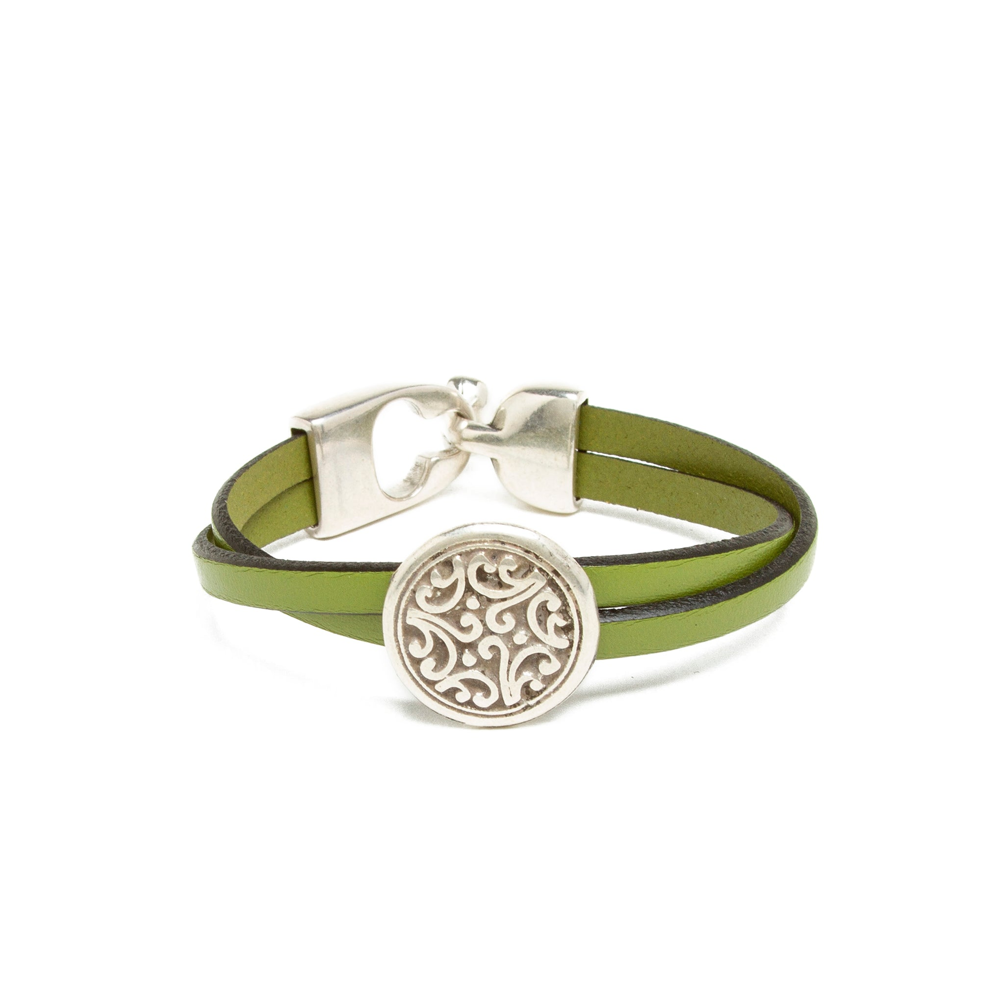 Leather Floral Bead Bracelet - Green