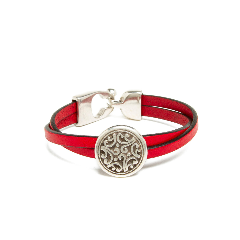 Leather Floral Bead Bracelet - Red