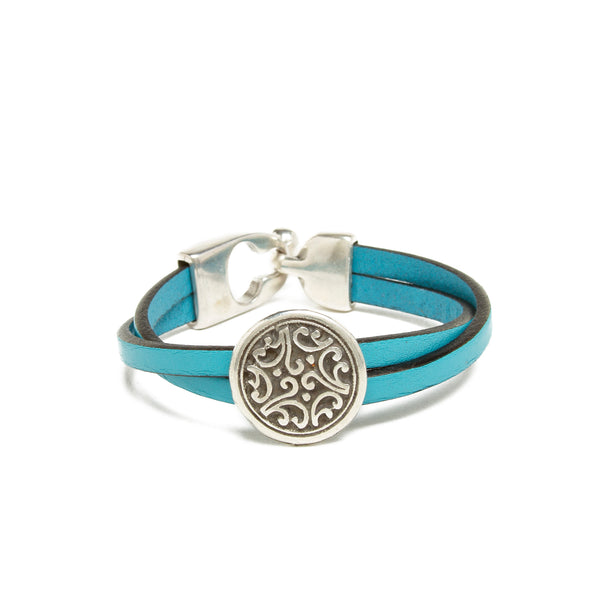 Leather Floral Bead Bracelet - Teal
