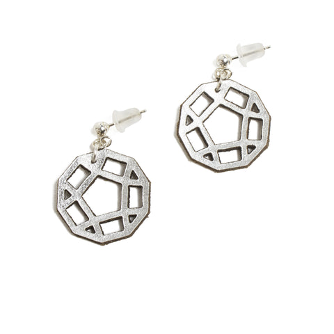 Silver Leather Molecule Earrings