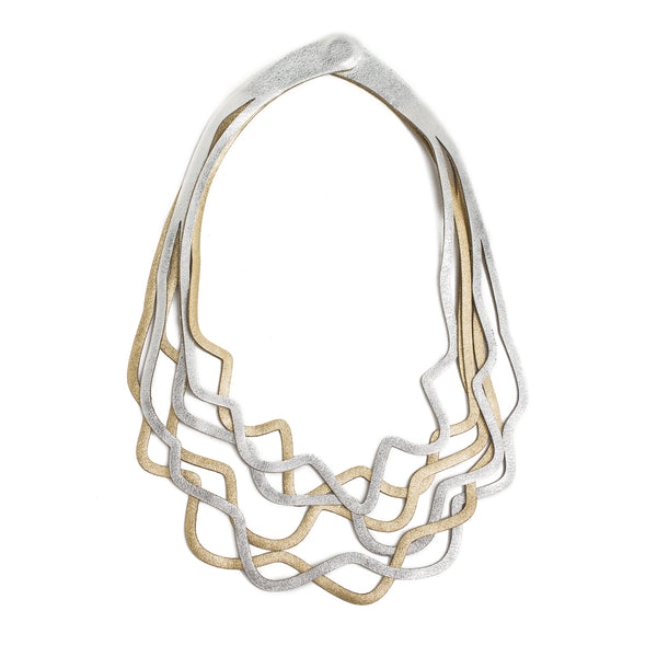 Two-Tone Leather Wavy Necklace