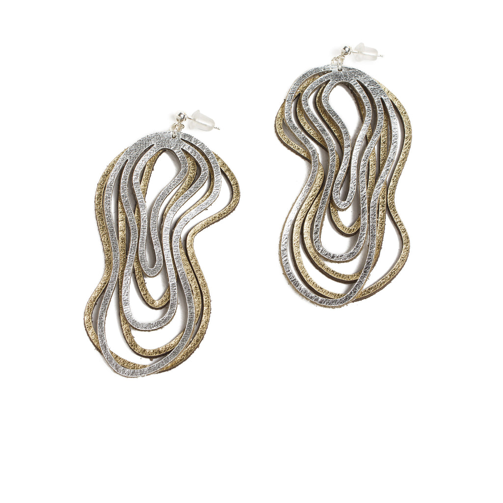 Two-Tone Leather Wavy Earrings