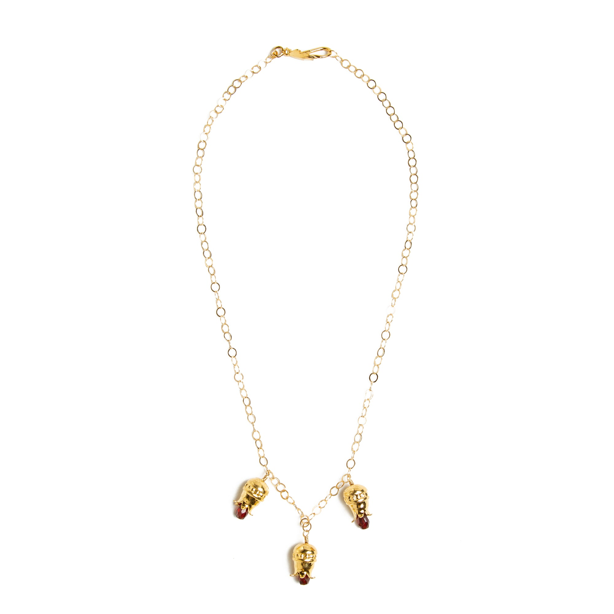 Pomegranate Necklace with Drop Garnets-Gold Plated  | Getty Store