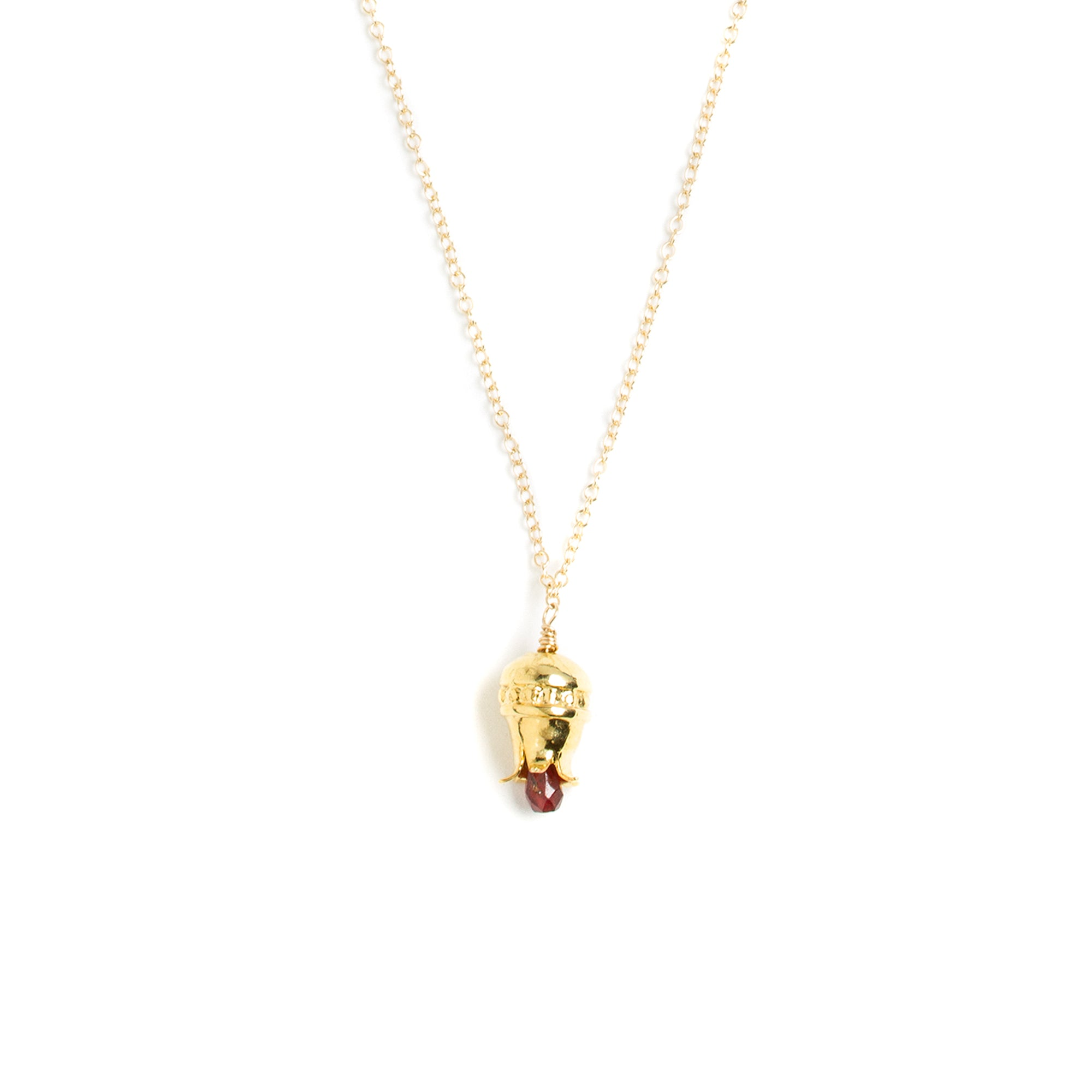 Pomegranate Necklaces with Drop Garnet-Gold Plated  | Getty Store