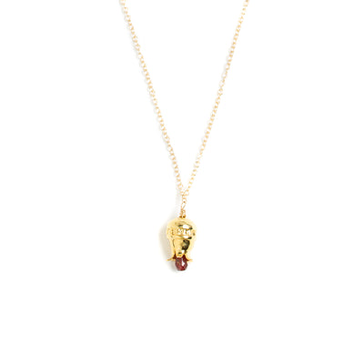 Pomegranate Necklace with Drop Garnet - Gold-Plated
