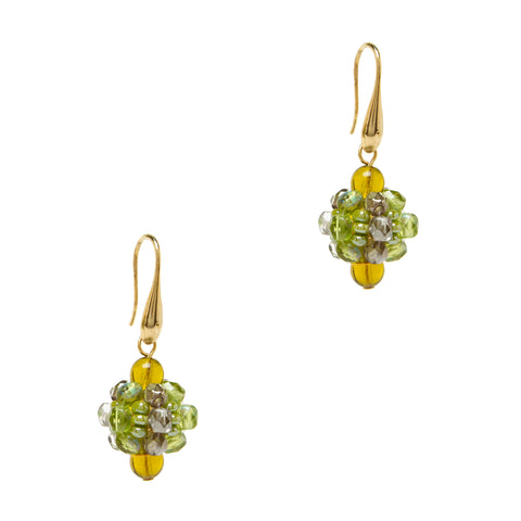 Murano Glass Cluster Earrings - Gold & Green