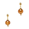 Murano Glass Bead Earrings - Copper