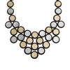 Black and Metallic Leather Dot Necklace