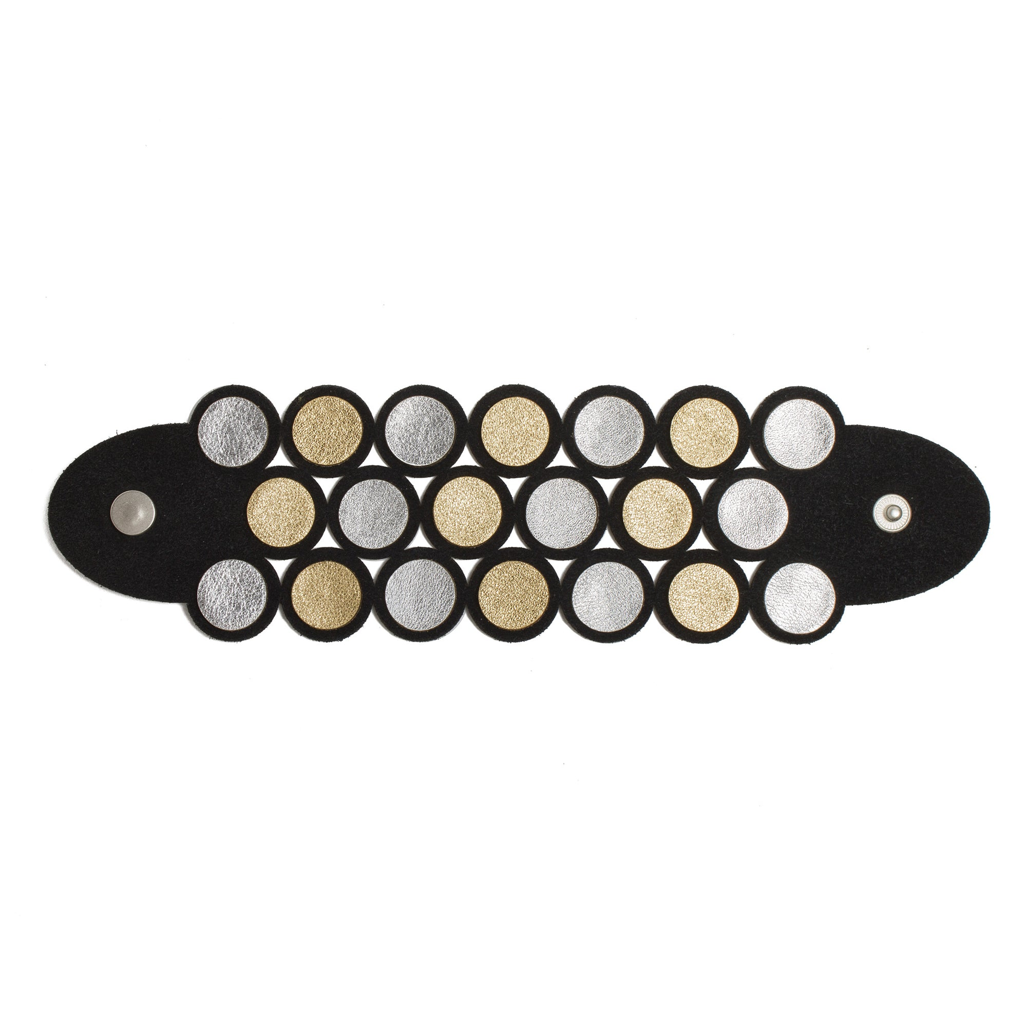 Black and Metallic Leather Dots Bracelet | Getty Store