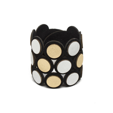 Black and Metallic Leather Dots Bracelet