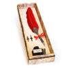 Calligraphy Set with Red Feather Quill Pen