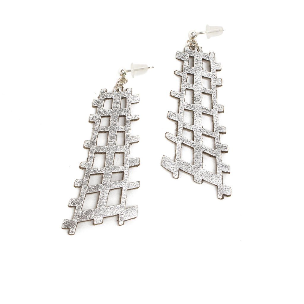 Silver Leather Grid Earrings