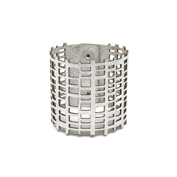 Silver Leather Grid Bracelet