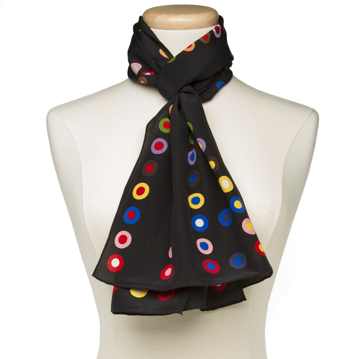 French Dot Pattern Silk Scarf-Black, view of scarf styled on Mannequin | Getty Store
