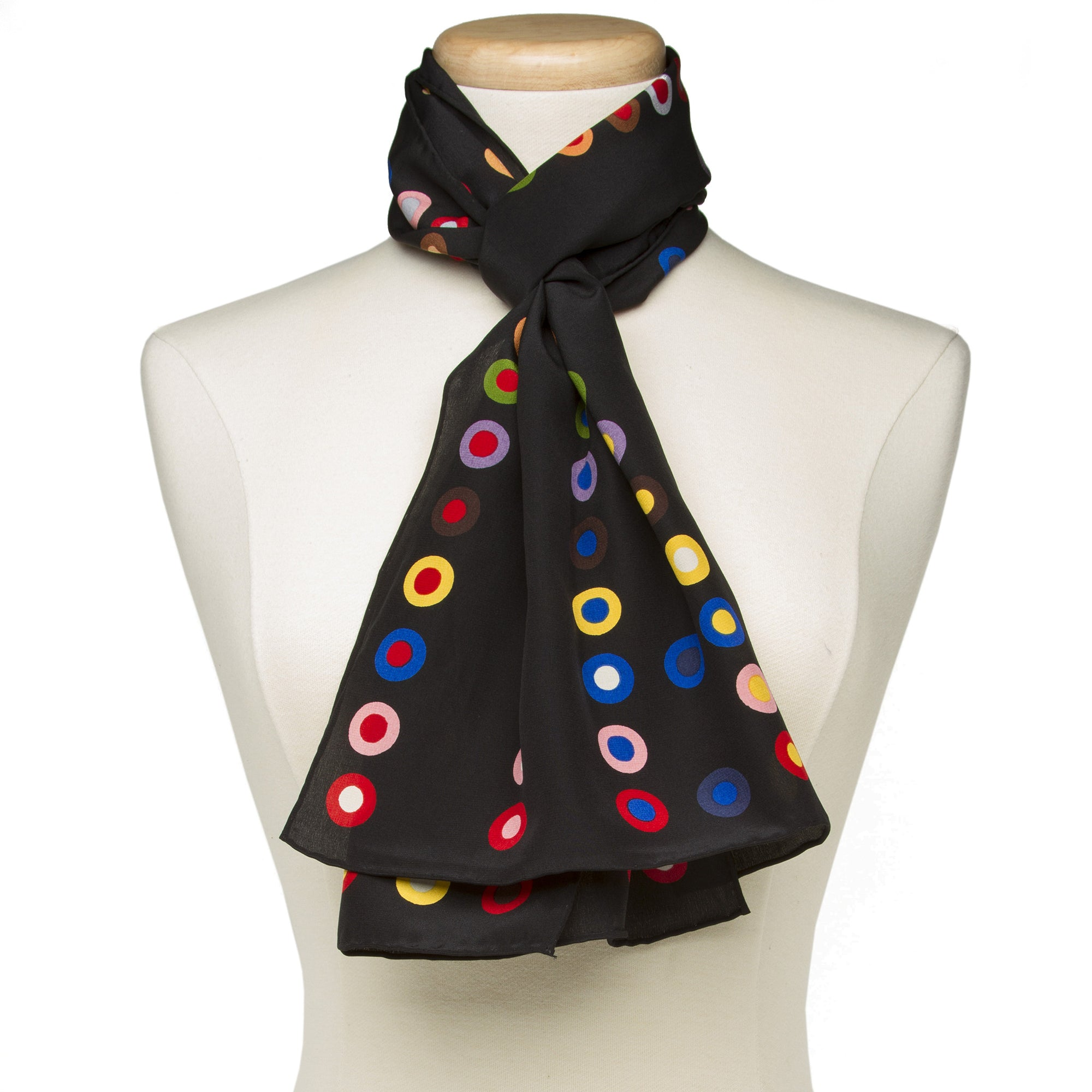 French Dot Pattern Silk Scarf-Black | Getty Store