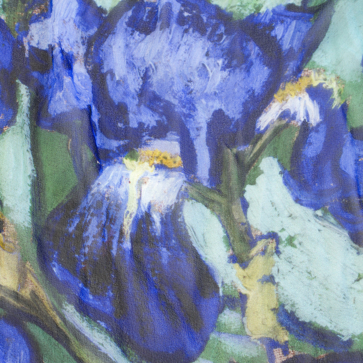 Detail of Irises Silk Scarf showing Iris design | Getty Store
