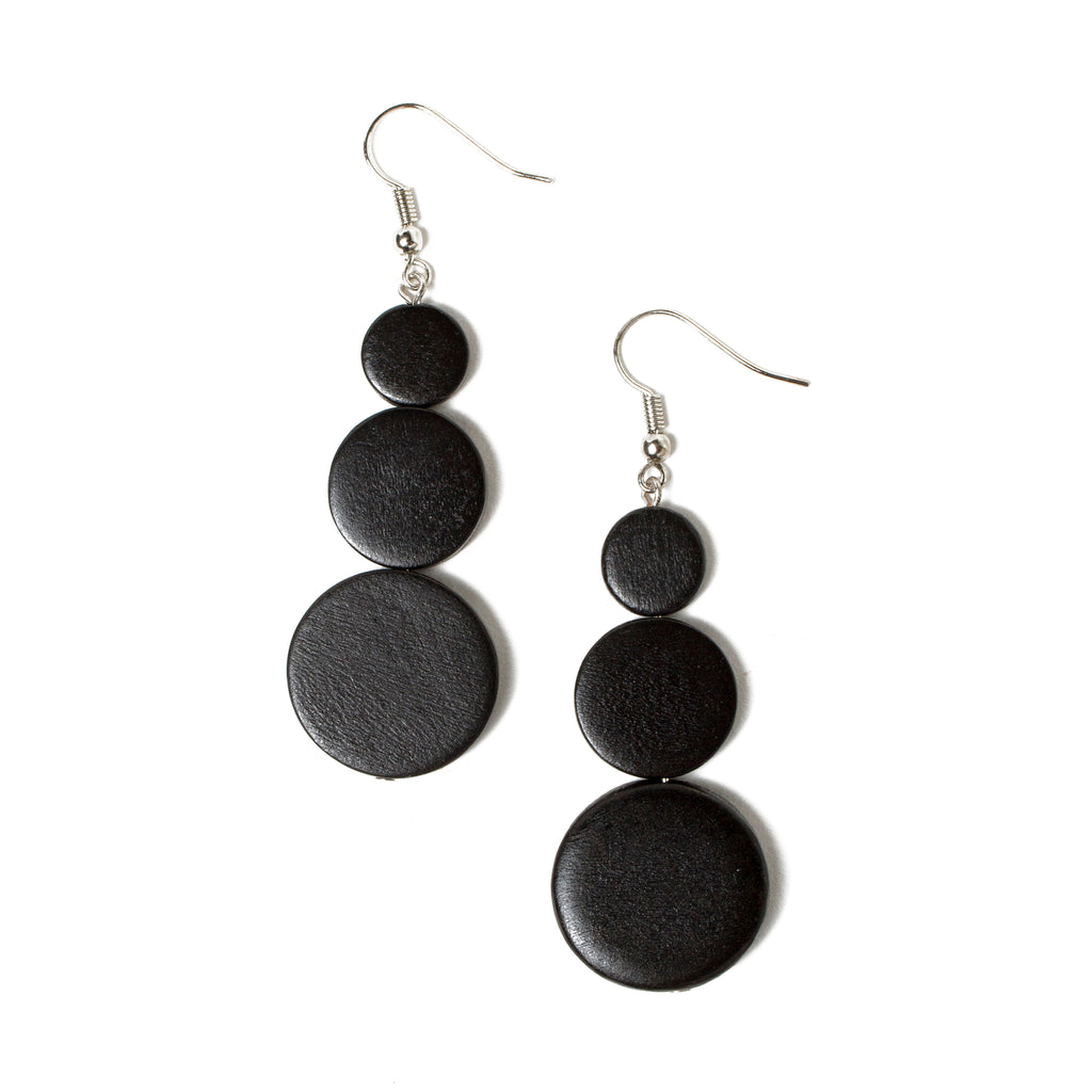 Black Triple Disc Drop Earring