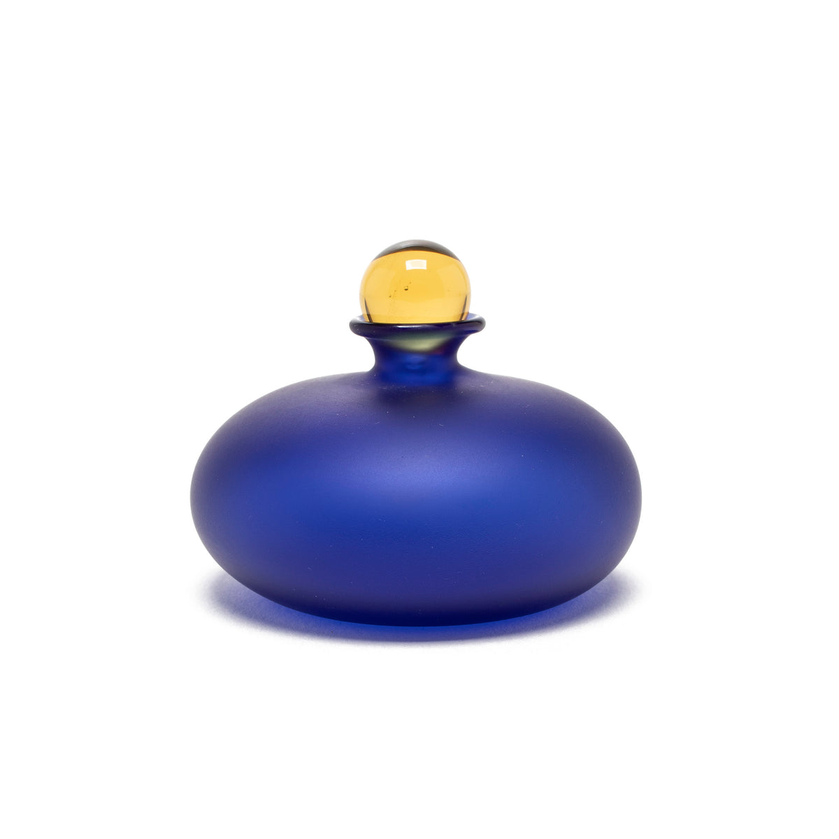 Murano Glass Perfume Bottle - Micro Flat Style in Blue/Amber
