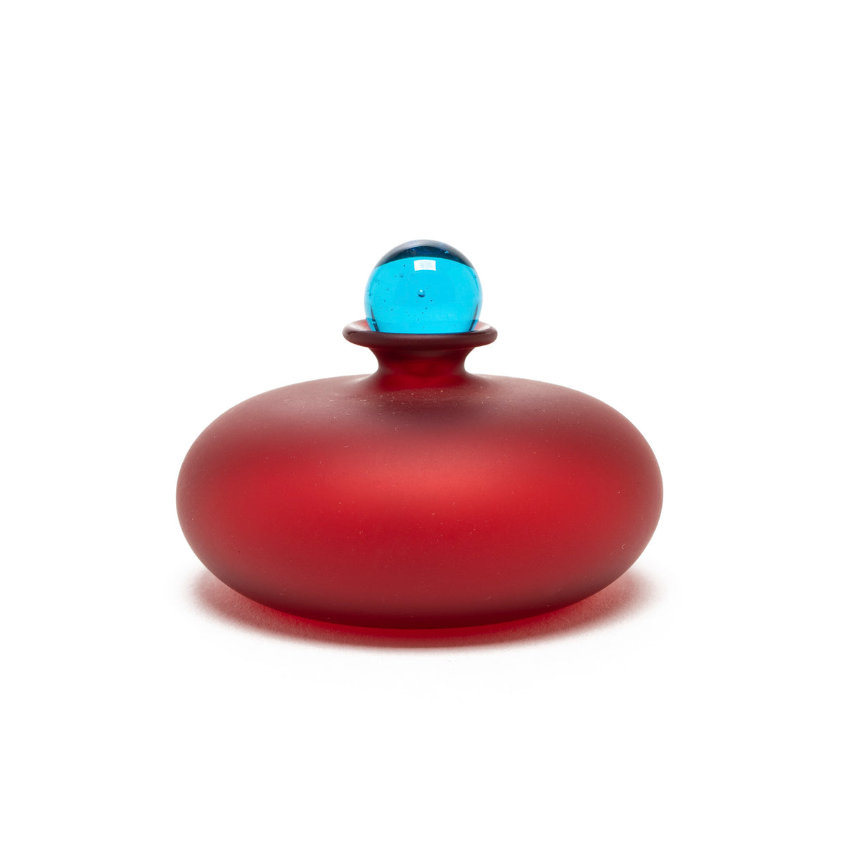 Murano Glass Perfume Bottle - Micro Flat Style in Red/Blue