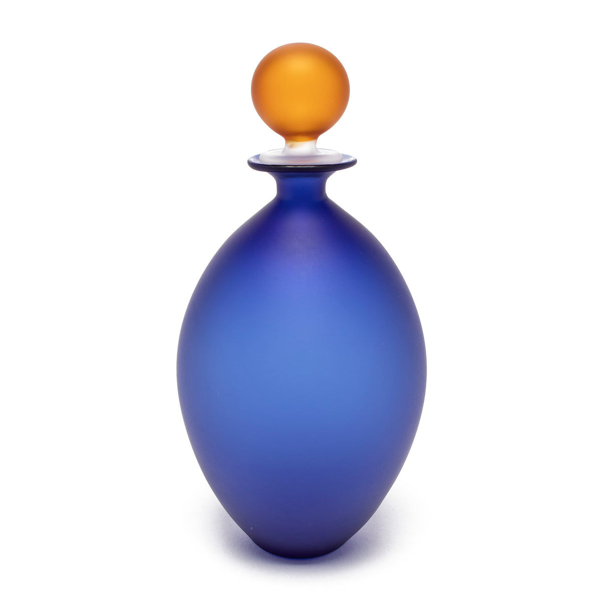Murano Glass Perfume Bottle - Medium Long Style in Blue/Amber