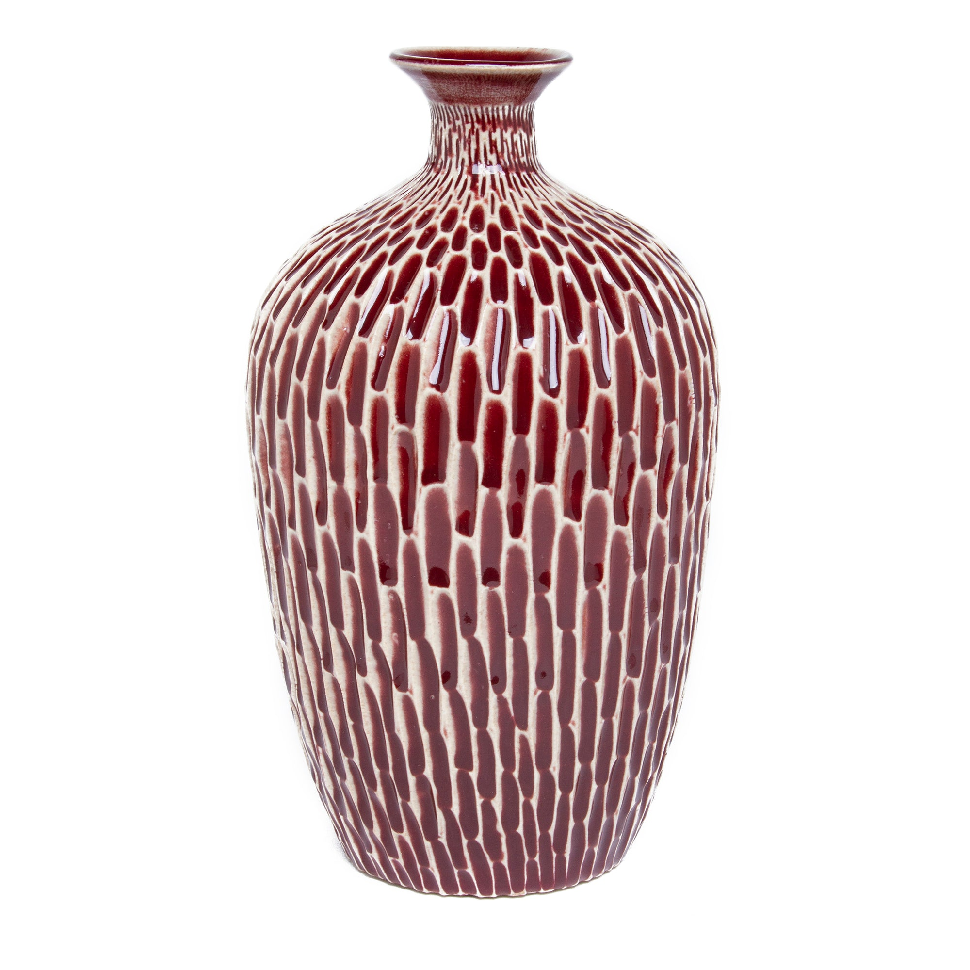 Ceramic Bottle - Ruby Carved