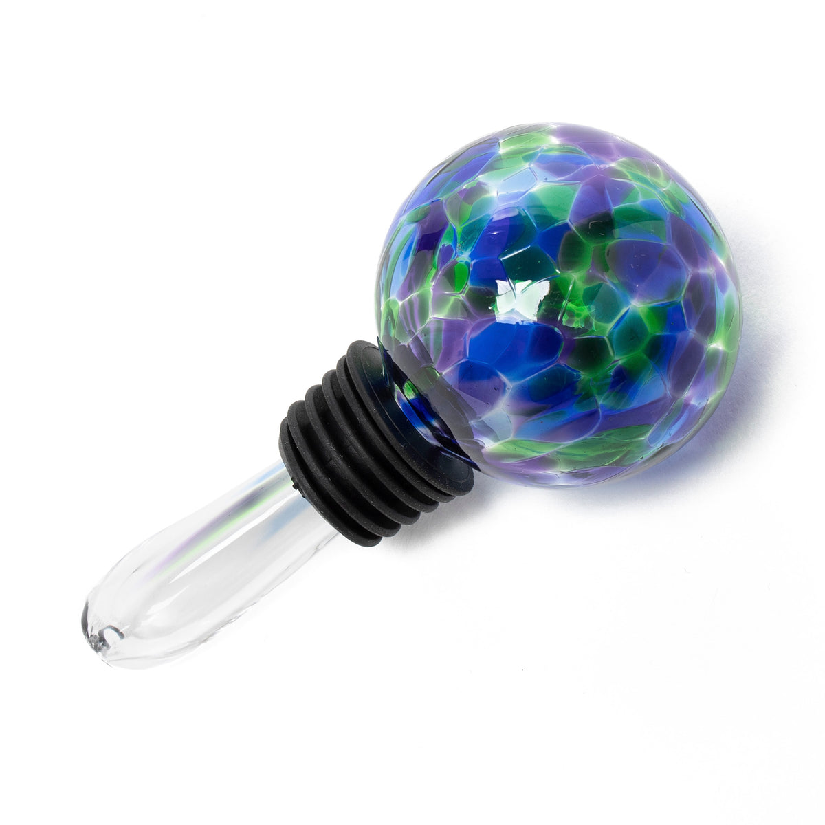 Hand Blown Glass Bubble Wine Stopper - Blue, Green & Violet