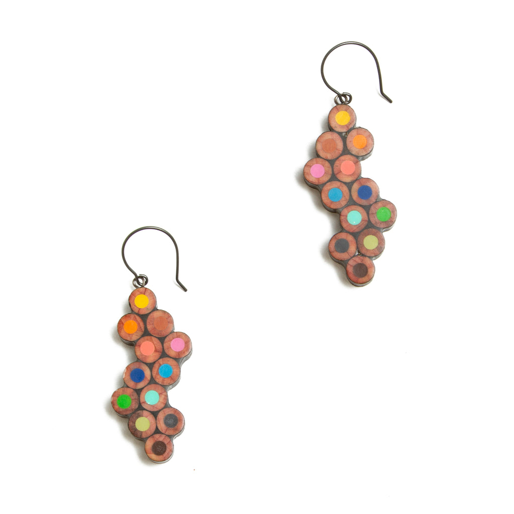 Colored Pencil Wave Earrings