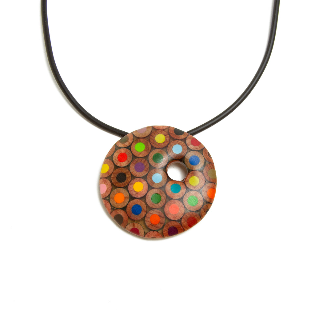 Colored Pencil Round Pendant Necklace