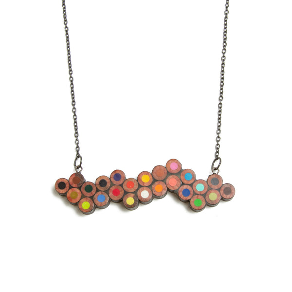Colored Pencil Wave Pendant Necklace