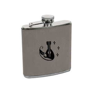 Bard Flask - Bard Flask - 21st Birthday, Bar Accessories, Bard, Beverage Holder, Class Specific, Cork, Dungeons and Dragons, Flask, Gift, In a Pocket, Laser Engraved, Leatherette