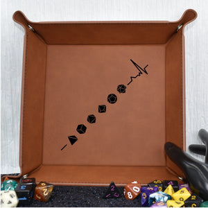 Dungeons and Dragons Lifeline Dice Tray - Dungeons and Dragons Lifeline Dice Tray - D20, Dice Accessories, Dice Tray, Dungeons and Dragons, Game Accessories, Gift, Laser Engraved, Leatherette
