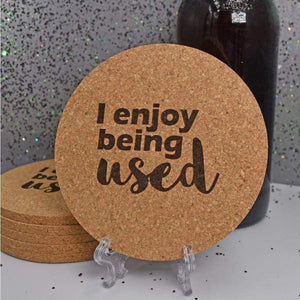 Coaster - Cork - Being Used - Coaster - Cork - Being Used - Bar Accessories, Coaster, Cork, Cork Coaster, Gift, Home Base, Housewarming, Kitchen View, Laser Engraved, Office, Table Shield, White Elephant