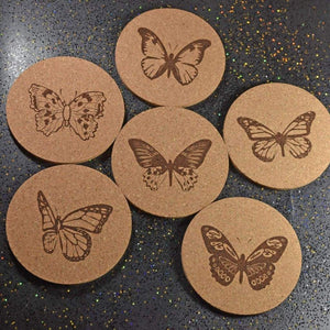 Coaster - Cork Round - Butterflies - Table Shield - GriffonCo