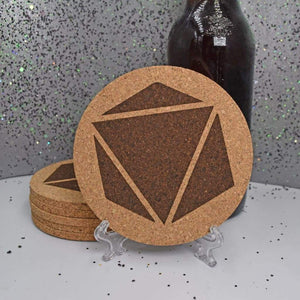 Coaster - Cork Round - Gamers D&D Dice - Table Shield - GriffonCo