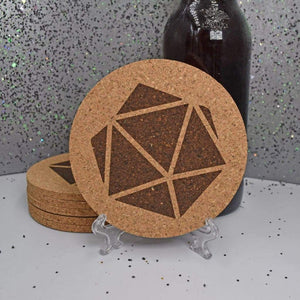 Coaster - Cork Round -  Gamer's D&D Dice - Coaster - Cork Round -  Gamer's D&D Dice - Bar Accessories, Best, Coaster, Cork, Cork Coaster, D20, Dungeons and Dragons, Gift, Home Base, Kitchen View, Laser Engraved, Table Shield