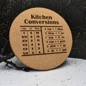 Cork Trivet - Kitchen Conversion - Cork Trivet - Kitchen Conversion - Bar Accessories, Cork, Cork Trivet, Gift, Home Base, Housewarming, Kitchen View, Laser Engraved, Table Shield, Trivet