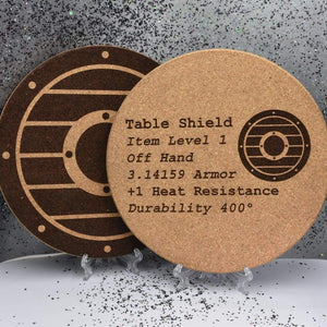 Cork Trivet - Table Shield - Cork Trivet - Table Shield - Bar Accessories, Best, Cork, Cork Trivet, Dungeons and Dragons, Fantasy, Gift, Home Base, Housewarming, Kitchen View, Laser Engraved, Table Shield, Trivet