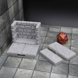 DragonLock Tiles - Dungeon - Crypt Wall - FDM Print - Fat Dragon Games