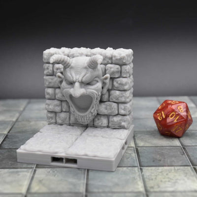 DragonLock Tiles - Dungeon - Demon Face - FDM Print - Fat Dragon Games