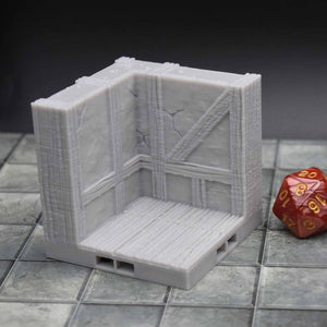 DragonLock Tiles - Tavern - Corner Wall - FDM Print - Fat Dragon Games